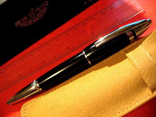 Writing with fountain pen calligraphy nib