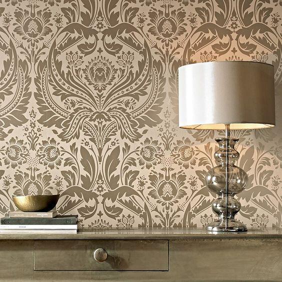 Desire Damask Wallpaper Designer Beige Wall Coverings By