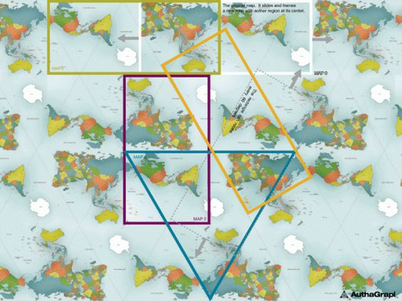 AuthaGraph World Map / made by equally dividing a spherical surface into 96 triangles, unfolding it to be a rectangle / the world map can be tiled in any direction without visible seams / by Hajime Narukawa / via verena