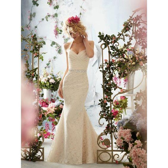 Mori Lee Voyage Wedding Dresses Style 6761 (¥61,430) ❤ liked on Polyvore featuring dresses ve wedding dresses