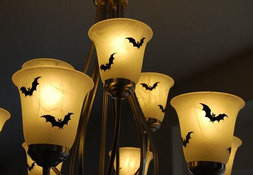 Such a cool idea for lights. Use bat or spider stickers on shades. Great idea and easy
