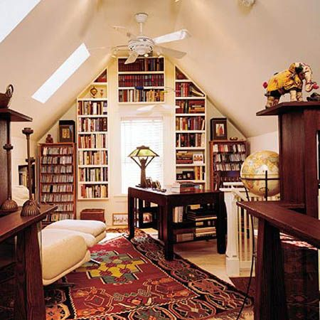 attic small spaces home library design built in book shelves built home library