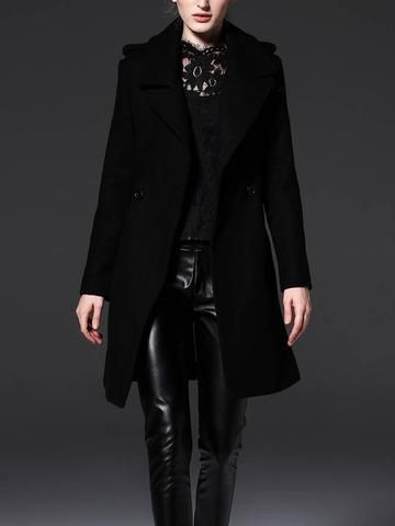 Cool Black Long Sleeve Wide Lapel with Belt Trench Coat Outwear