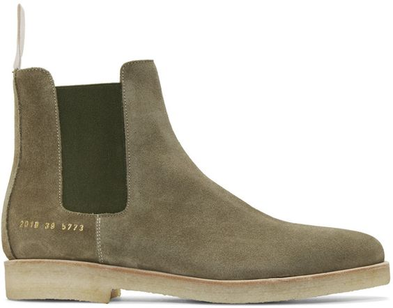 Common Projects Green Suede Chelsea Boots