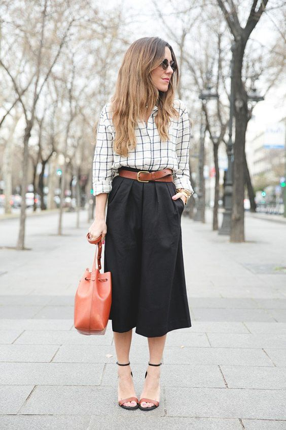 @roressclothes closet ideas #women fashion outfit #clothing style apparel  Checkered Shirt and Black Skirt