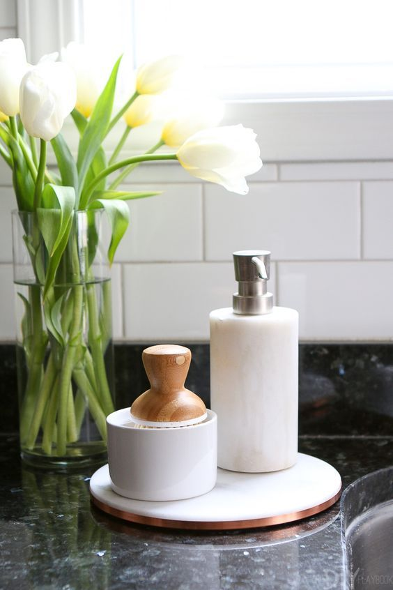 Full Circle Bubble Up Ceramic Soap Dispenser Bamboo Dish Brush