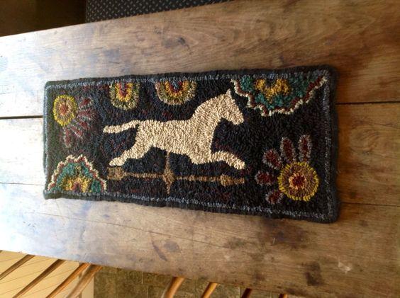 Horse Weathervane Handmade Hand Hooked Wool Rug Huge Size ...~♥~
