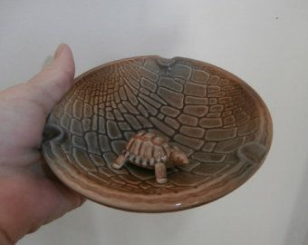 Vintage Porcelain Turtle Shell Ashtray Trinket Dish Art Piece Serving Decor A  Wade made in England Mint Condition