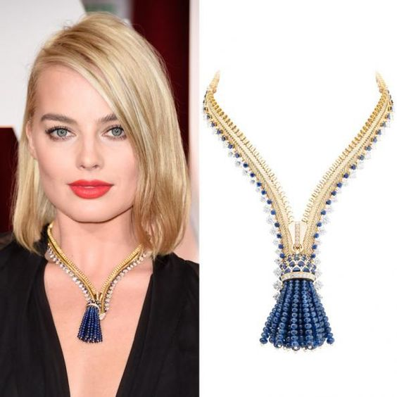 Margot Robbie in a Van Cleef & Arpels zip necklace