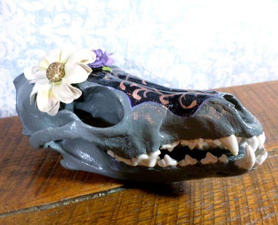 Hand Painted Real Coyote Skull black grey by FiligreeAndTheSea