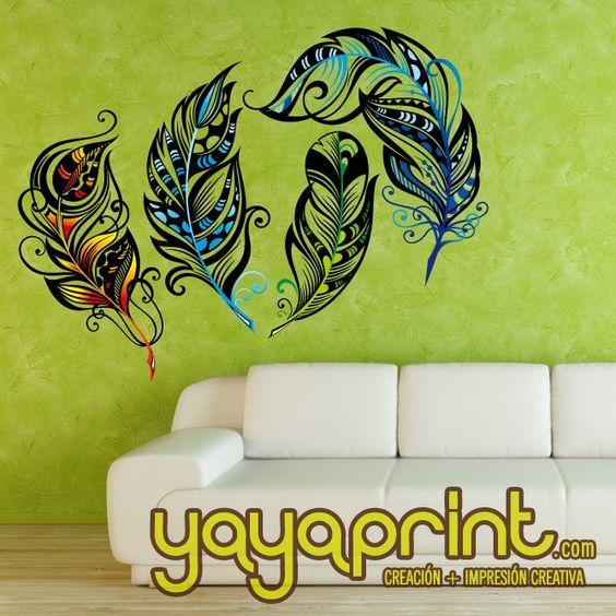 Vinilo yayaprint plumas ave fenix color vinilo vinilos for Pegatinas vinilo decoracion