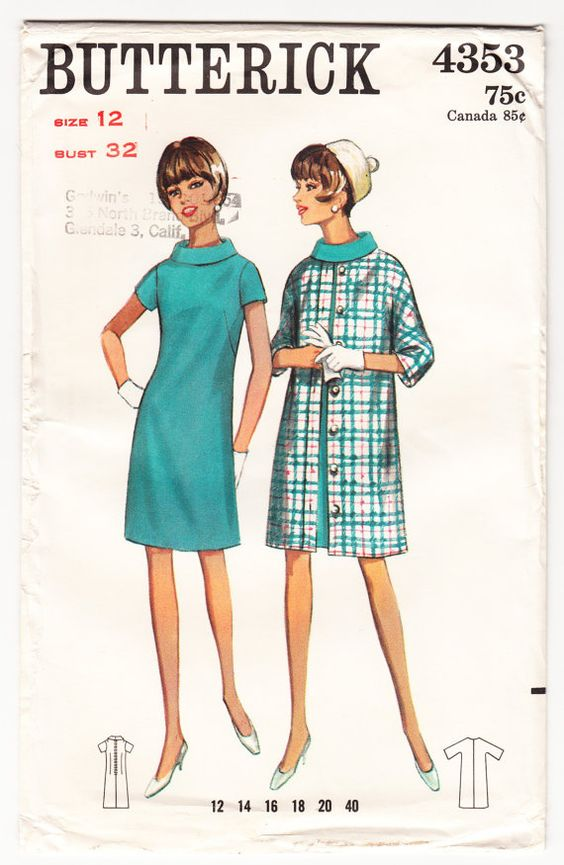 Vintage 1967 Butterick 4353 UNCUT Sewing Pattern Misses' Dress Coat