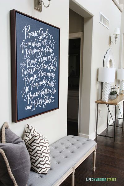 Love this beautiful entryway and Doxology canvas - Christmas 2014 Home Tour - Life On Virginia Street: