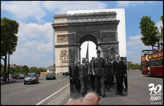 Champs-Elysées, Le général de Gaulle précédé par quatre chars de la 2e D.B. descend à pied les Champs-Elysées. Paris est en fête, 26 Août 1944 - Golem13
