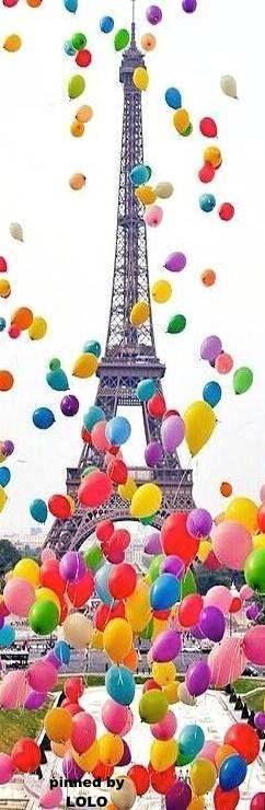 Eiffel Tower - Paris, France - Colorful balloon launch.