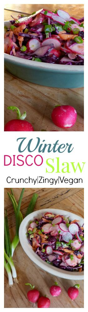 Zippy, zingy, tasty and tangy. This brightly coloured coleslaw recipe is made with crunchy ingredients that are all easy to find even in the depths of winter.  The dressing is made from tahini & lemon, no mayo here so this recipe is 100% vegan and 100% delicious.
