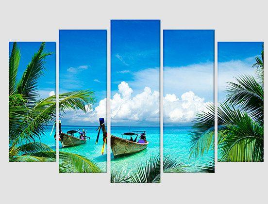Beautiful Tropical Beach Canvas Print Tropical Canvas Art Ocean Wall Art Sea Beach Sea Canvas Print Beach Wall Decor Beach Art Diy Ocean Wall Art Beach Canvas
