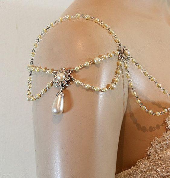 Epaulettes ombro nupcial Jóias e Acessórios, pérolas, strass, Efrat Davidsohn 1920 Inspiration Ombro Colar de jóias de casamento, OOAK