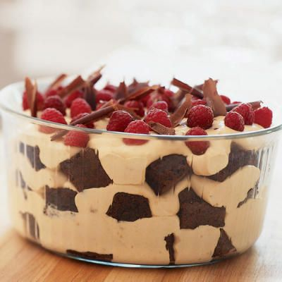 Desserts: Chocolate-Caramel Trifle with Raspberries