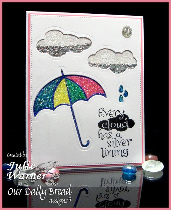 Silver Glitter Lining card, negative die cut space & various glitters- ODBD images & dies
