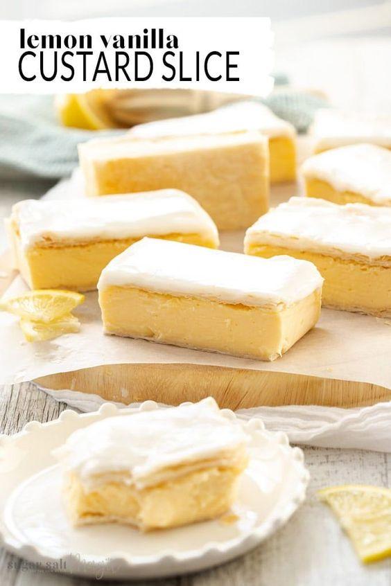 Lemon Vanilla Custard Slice   Recipe   Custard slice, Baking recipes, Australian bakery