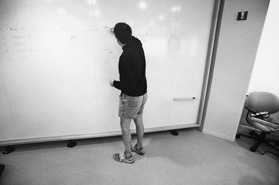 Steve Jobs working on his white board.
