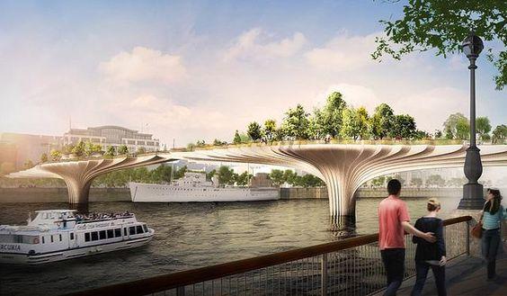 Arch Mundo - Arquitetura para um mundo melhor.   Conheça a Garden Bridge que ligará o norte ao sul de Londres sobre o rio Tamisa.