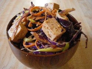 Red Cabbage Slaw w/ Baked Tofu & Almond Dressing #macrobiotic (sub brown rice syrup or maple for brown sugar)