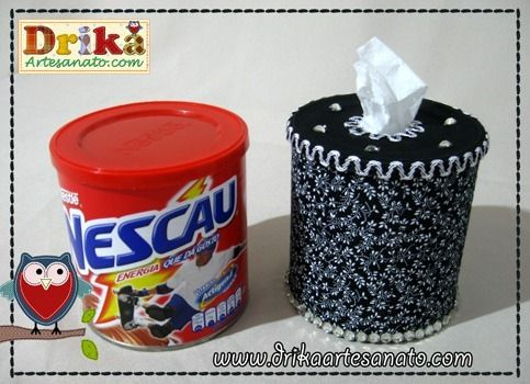 Using toilet paper and a normal metal can. Much cheaper than regular paper handkerchiefs