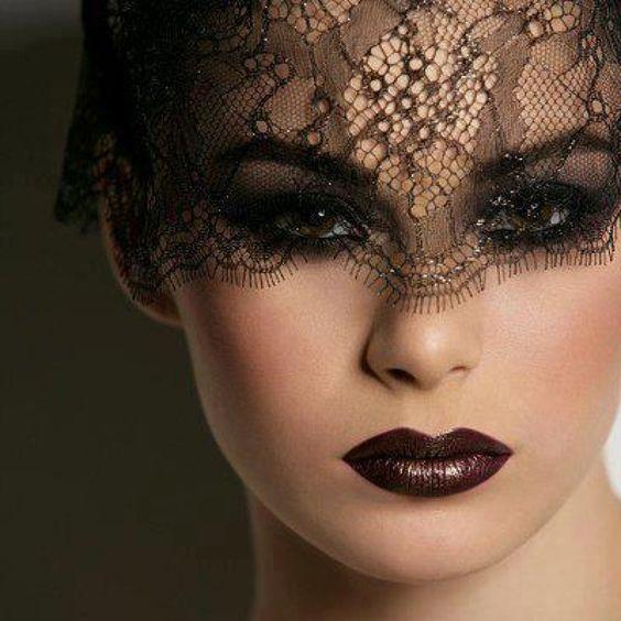 #black #lace #veil and #dark #lips #SocialblissStyle