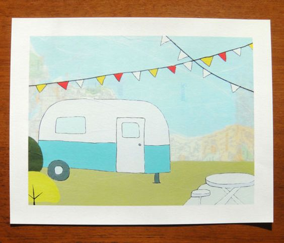 Archival Map Prints- sweet little camper
