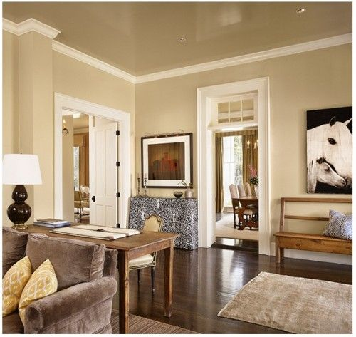 Colors: tan/taupe/khaki walls with white trim