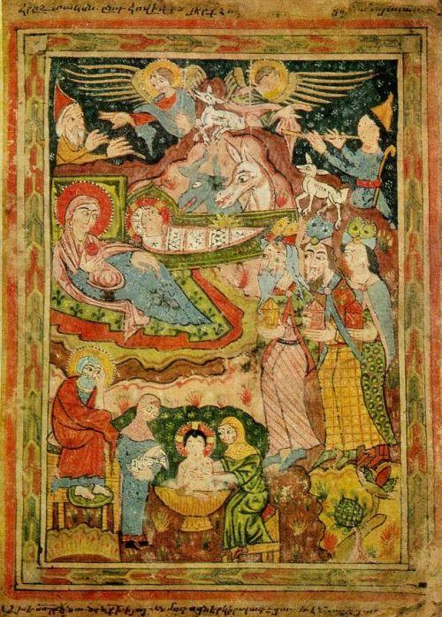 A Nativity miniature from the Armenian Apostolic Church.  By the Anonymous Painter of the Syuniq Gospel, XIV - XV centures.