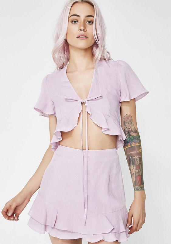 Ruffle Crop Skirt Set | Dolls Kill