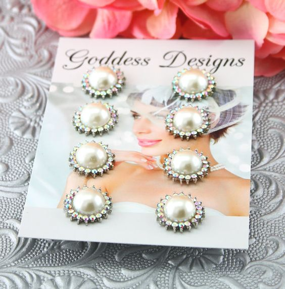 """Bridal Earrings Set of Four Wedding Earrings by goddessdesignsgems, $50.00 *This listing is for a """"set of four"""" pairs of earrings* These """"gorgeous"""" earrings feature a white pearlized center surrounded with a beautiful array of AB color Austrian crystals. Earrings are post style and silver plated and measure approx 1"""" across. Perfect for brides, or bridesmaids."""
