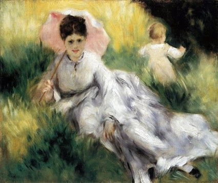 Pierre-Auguste Renoir: Woman with a Parasol and a Small Child on a Sunlit Hillside, 1876
