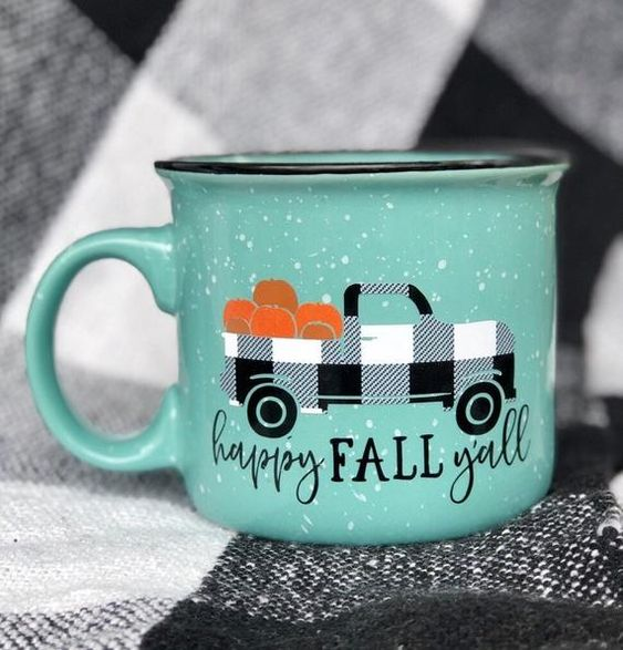 14 oz ceramic campfire mug with the cutest little pumpkin patch truck, on a Turquoise or Pumpkin Pink mug. Your mug is lettered using only the BEST, premium high quality outdoor vinyl. If cared for properly, it will not come off. If you would like to change any vinyl colors I would be happy to