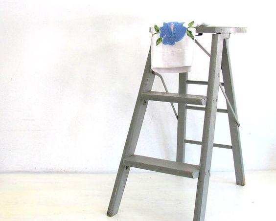 Vintage Wood Ladder Step Stool Folding Ladder By