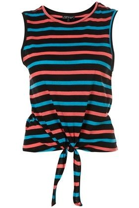 Multi Stripe Knot Front Tank Top - New In This Week - New In - Topshop USA - StyleSays