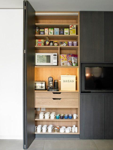 Breakfast Cabinet With Bi Fold Doors Contemporary Bifold Kitchen Cabinet Door Hinges Kitchen Pantry Design Contemporary Kitchen Pantry Design