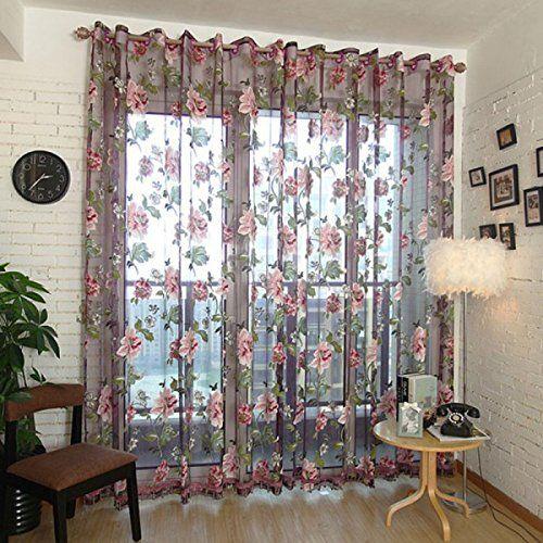 Norbi Decorative Floral Tulle Voile Door Window Rom Curtain Drape ...