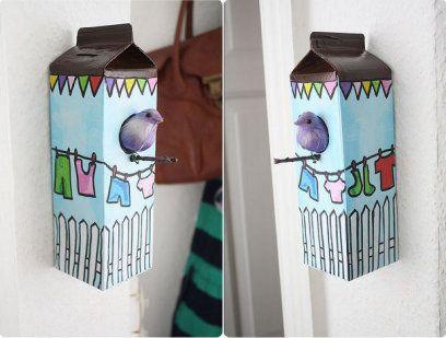 Manualidades con cajas de leche house birds and bird houses - Manualidades facilisimas para ninos ...