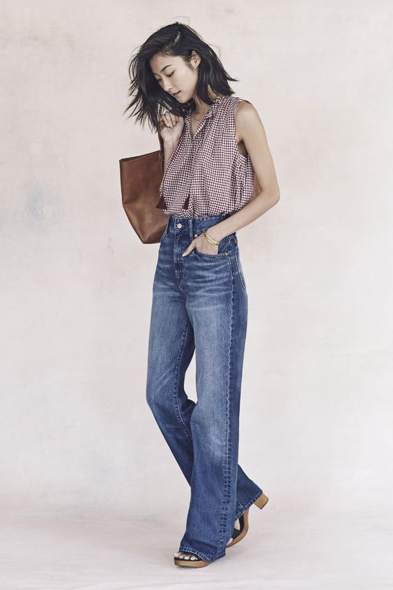 your sneak peek at madewell's spring 2016 collection: sleeveless gingham top, leather tote, high rise wide leg jeans + leather heeled sandals. pre-order your favorites now by calling 866-544-1937 (434-385-5792 for our international friends) or email shopfirst@madewell.com to get first dibs  #everydaymadewell: