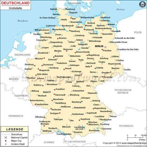 karte städte deutschland Deutschland Städte Karte | Karte deutschland, Landkarte