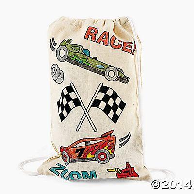 race car drawsting bag