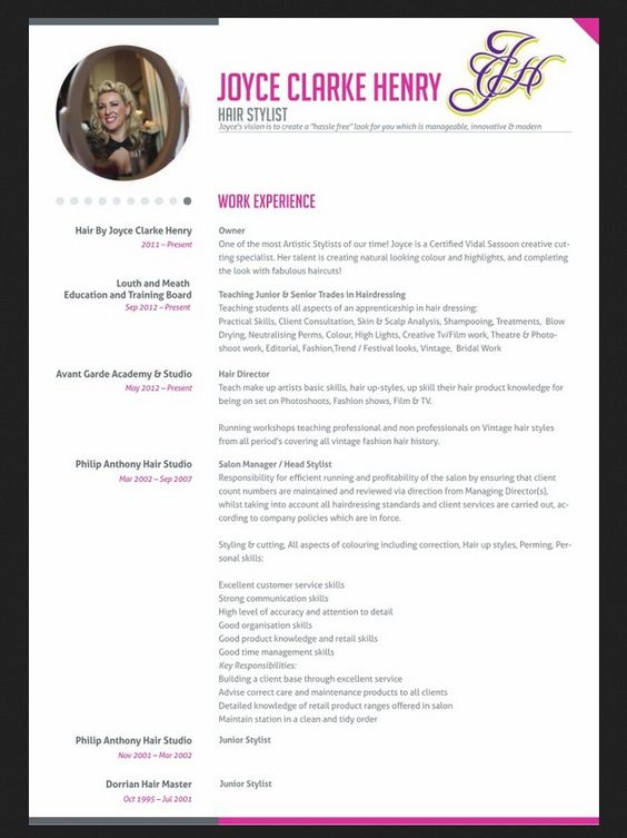 Professional Hair Stylist Resume -    jobresumesample 1234 - hair stylist sample resume