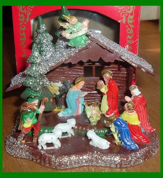 Vintage Shiny Brite plastic nativity scene.: