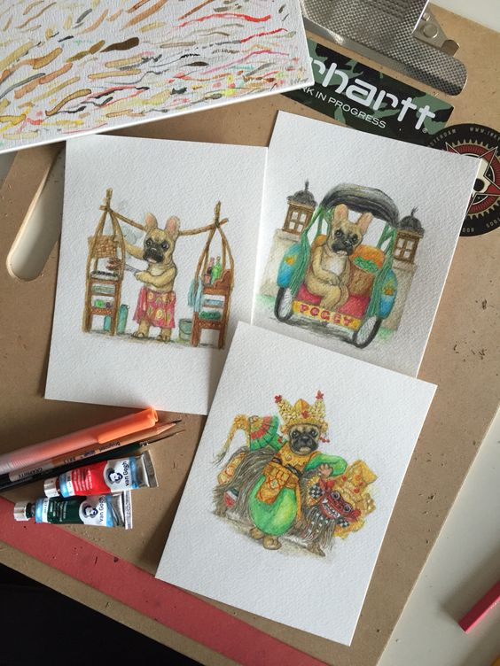 Three watercolor paintings of a French bulldog named Peggy. All three in a typical Indonesian setting.   #frenchie #frenchbulldogs #dogart #painting #frenchieart #indonesian #Indo #Bali #Baliart #Balinese #dogpainting #dogs #drawn #drawings #dogpaintings #cartoons #frenchies #Fransebulldog #bulletje #indisch #dutch #schilderij #honden #hondjes