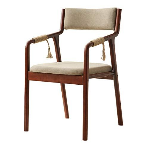 Solid Wood Dining Chairs With Armrest Linen Fabric Vintage