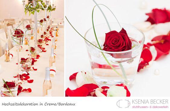 bordeaux rot hochzeitsdekoration tischdekoration mit rosen  Hochzeit ...